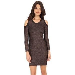 Rebecca Minkoff Metallic Cold Shoulder Dress